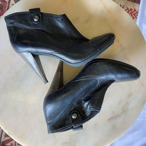 black leather Coach booties